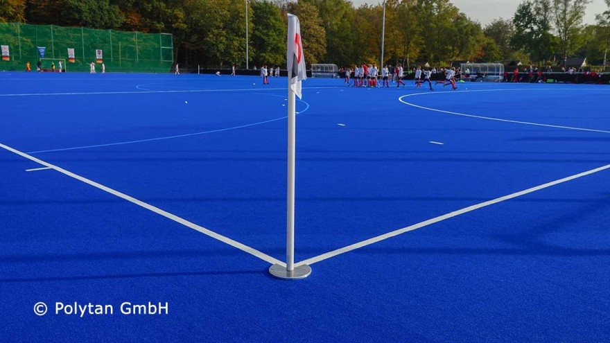 Synthetic turf for hockey sustainably produced by Polytan