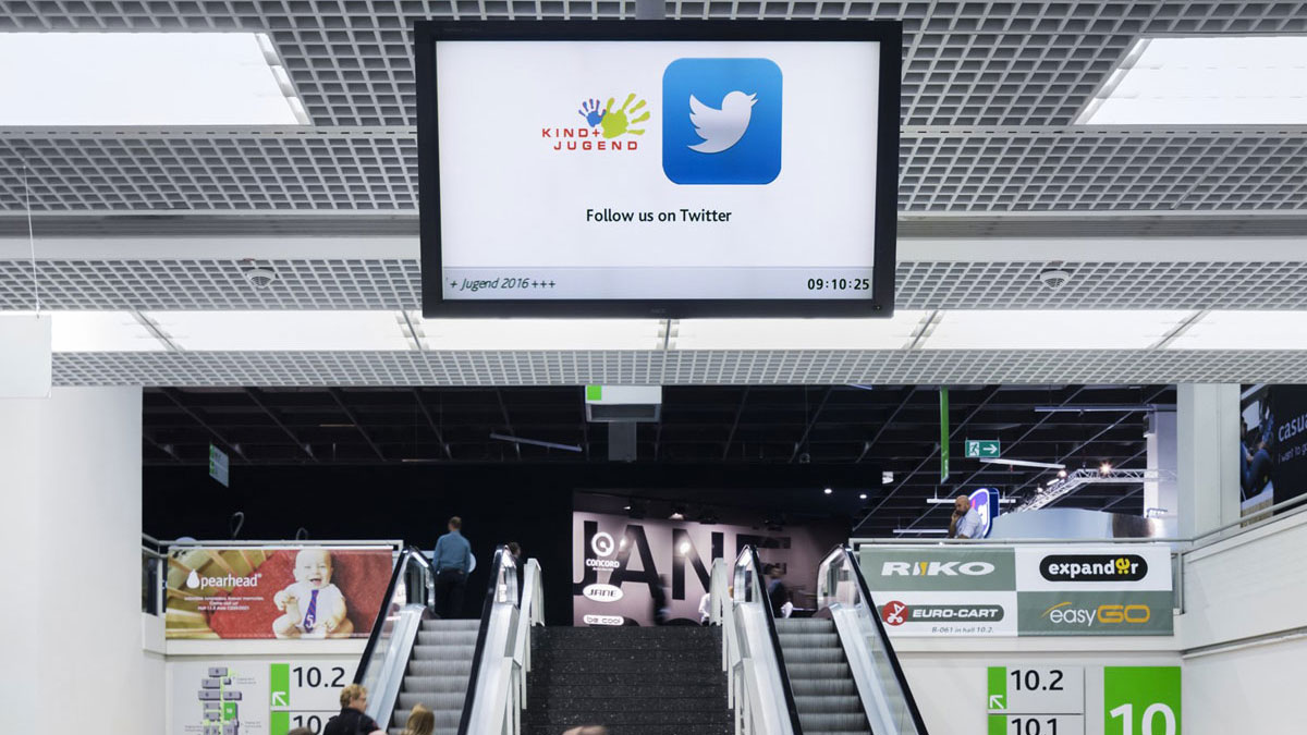 Werbeflächen bei der Koelnmesse - Infobildschirm