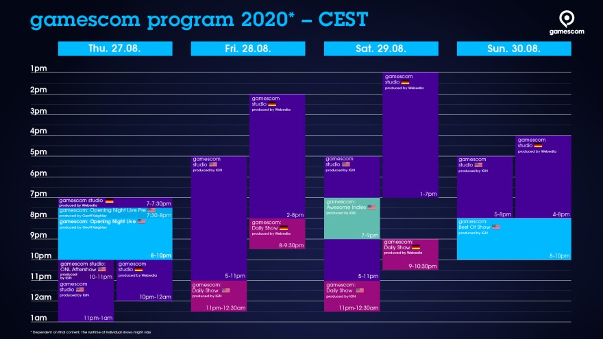 Timetable gamescom CEST