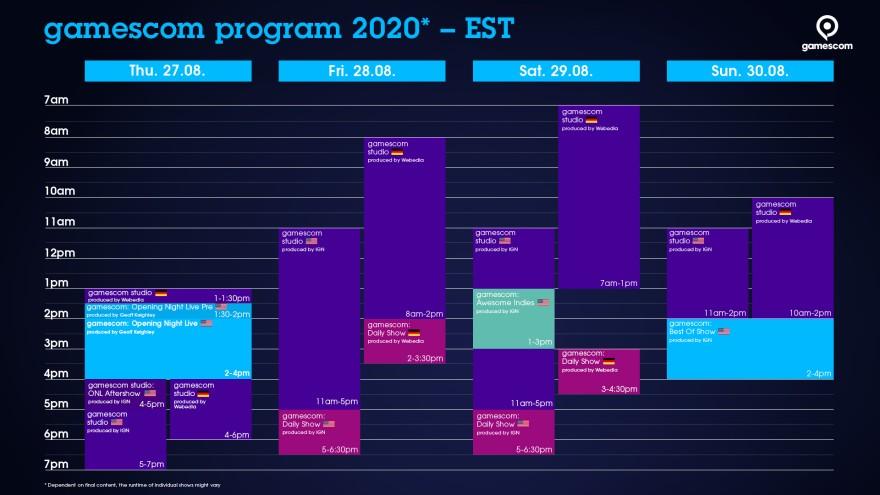 Timetable gamescom EST