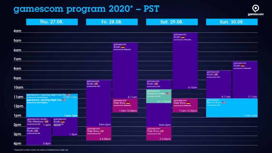 Timetable gamescom PST