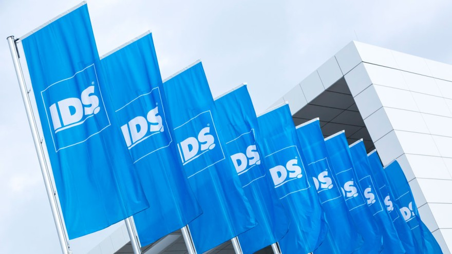 Flags of IDS at etrance south, Koelnmesse
