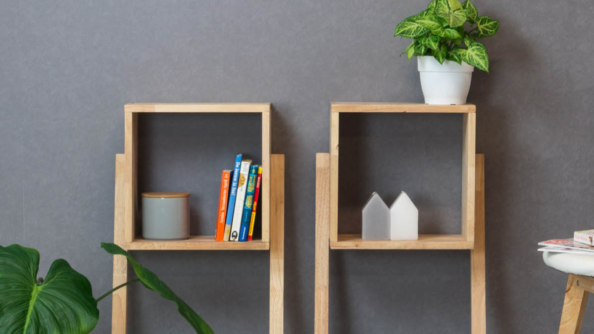Multifunctional solid wood shelf in double pack by Furniteam, Photo: Furniteam