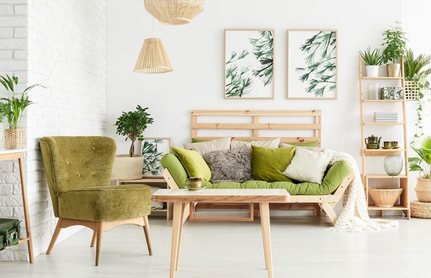 Wohnbereich mit natürlichen Materialien