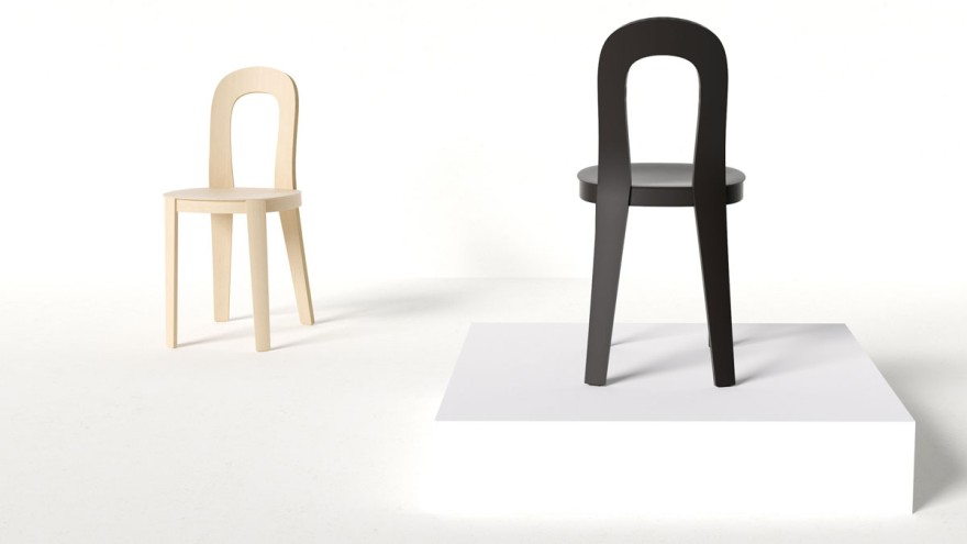 A moulded plywood chair explores balance between lightness and good ergonomics.