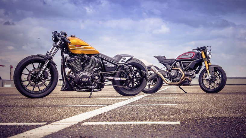 Custom Bikes der INTERMOT, Ducati Scrambler und YAMAHA XVS 950