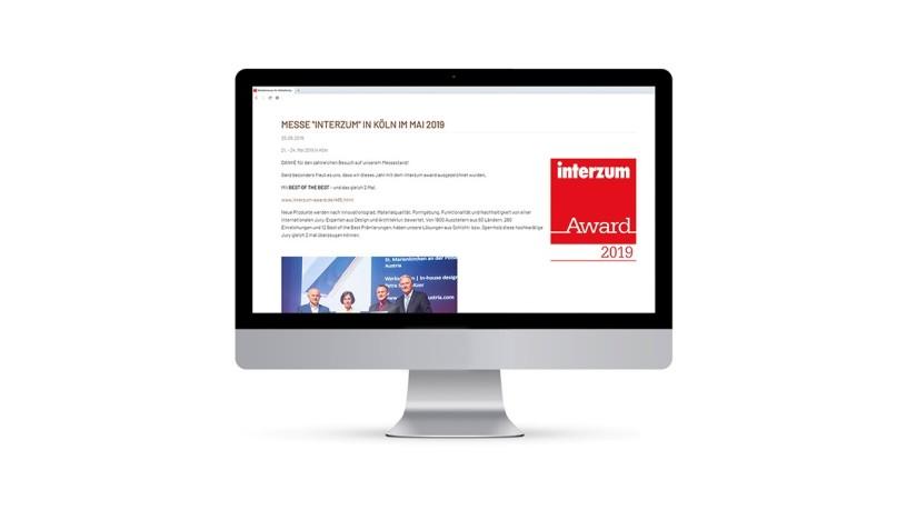 Screen with interzum award website
