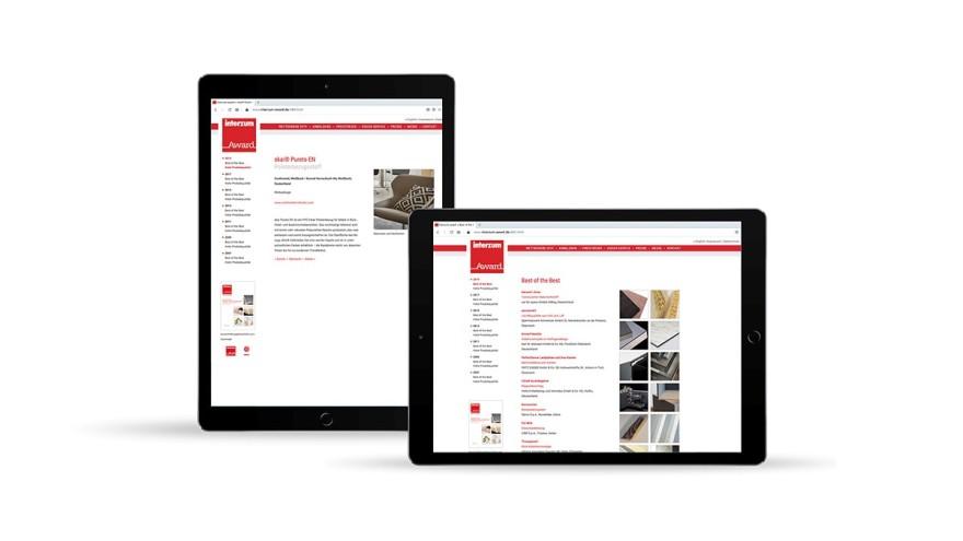 Tablet screen with interzum award website