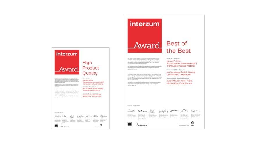 interzum award certificate