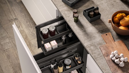 Sous-Chef organiser for pull-out kitchen cabinets.