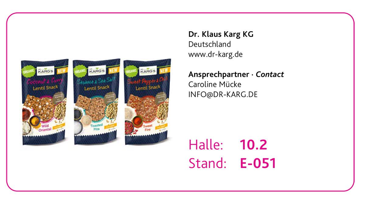 Drei Top Innovationen des New Product Showcase 2020: 1. Platz Dr. Klaus Karg KG - Dr. Karg's Bio Linsen-Snacks