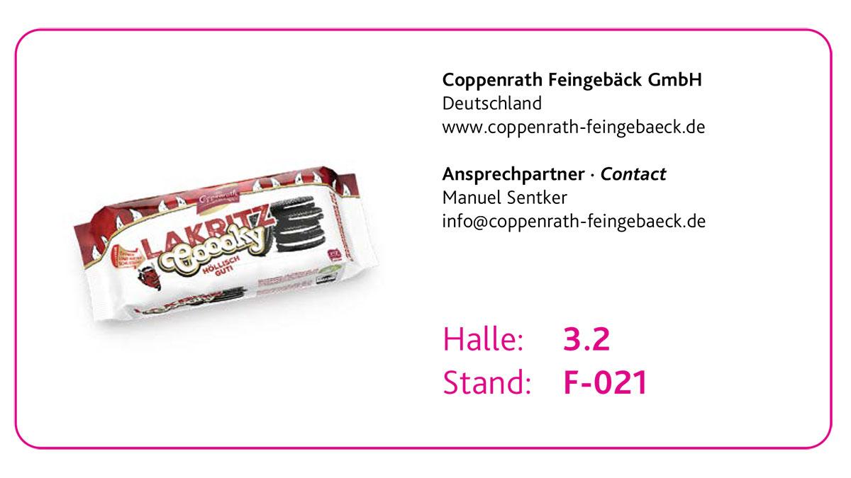 Drei Top Innovationen des ISM New Product Showcase 2020: 3. Coppenrath Feingebäck GmbH – Lakritz Cookie
