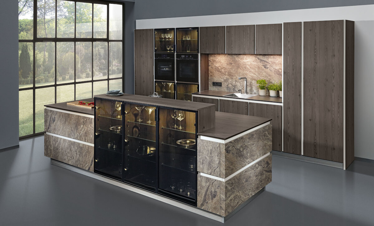 Glass cabinets as counter and privacy screen
