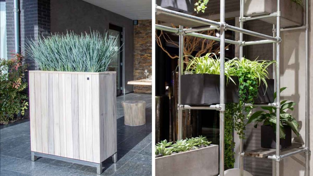 Vertical greening: Room divider and scaffold shelf by fleur ami © fleur ami