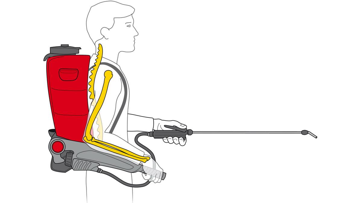"Der speziell geformte Tankkörper des Rückensprühgeräts ""RPD 15"" ist dem menschlichen Körper perfekt angepasst. – Foto: Birchmeier"