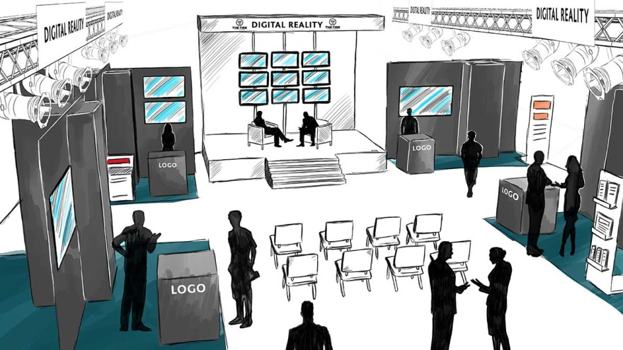 Digital Reality sketch of the area in the exhibition hall