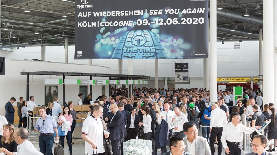 Entrance area with visitors of The Tire Cologne North entrance of Koelnmesse